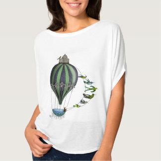 熱気の気球および鳥 Tシャツ