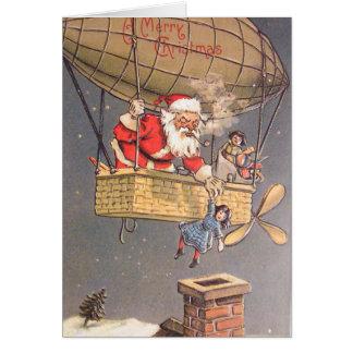 熱気の気球のサンタクロースのヴィンテージの挨拶状 カード