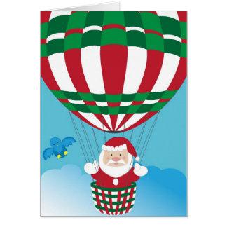 熱気の気球のサンタクロース カード
