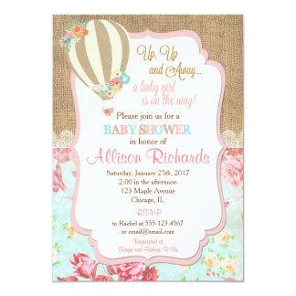 熱気の気球のベビーシャワーの招待のバーラップのレース カード