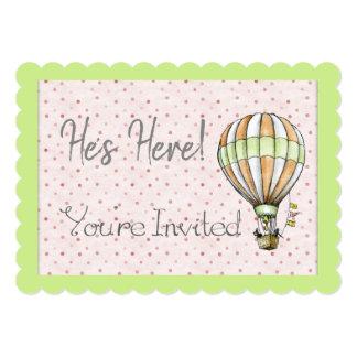 熱気の気球のベビーシャワーの招待状 カード