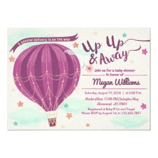 熱気の気球のベビーシャワーの招待 カード