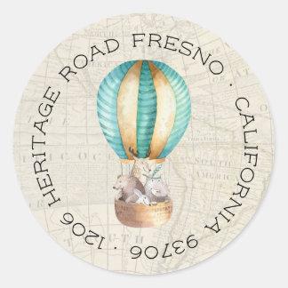 熱気の気球の差出人住所 ラウンドシール