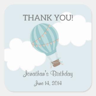 熱気の気球の誕生日のステッカー スクエアシール