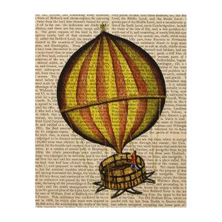 熱気の気球の黄色および赤 ウッドウォールアート