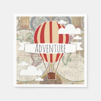 熱気の気球及び世界地図のヴィンテージの冒険 スタンダードカクテルナプキン