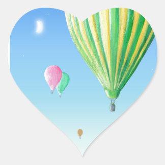 熱気の気球 ハートシール