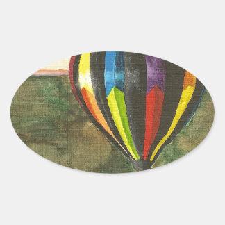熱気の気球 楕円形シール