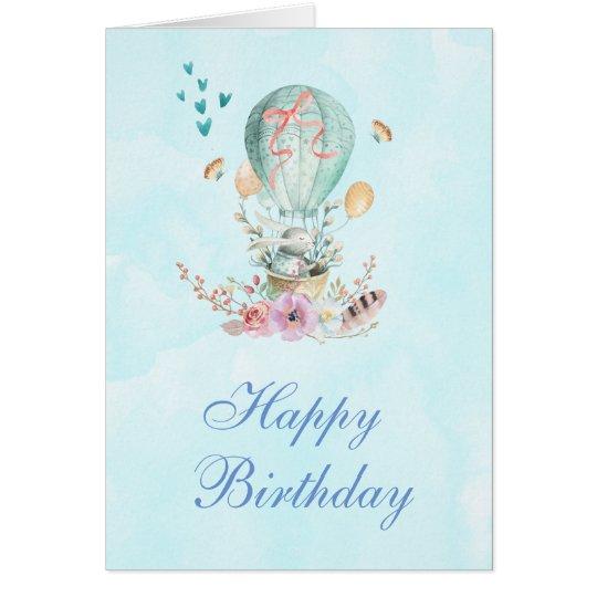 熱気球の誕生日のかわいいバニーの乗馬 グリーティングカード