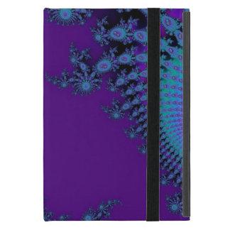 熱狂するでクールな紫色の青いフラクタルデザイン iPad MINI ケース