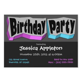 熱狂するでクールな紫色及び青の誕生日のパーティの招待状 カード