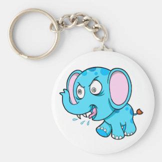 熱狂するで異常で堅く青い象のキーホルダー キーホルダー