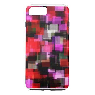 熱狂するで赤い及びピンクピクセル狂気!! iPhone 8 PLUS/7 PLUSケース