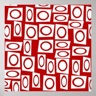 熱狂するで赤く白いおもしろいの円の正方形の幾何学的設計 ポスター