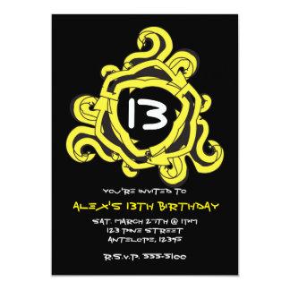 熱狂するで黄色及び黒い矢の誕生日の招待状 カード