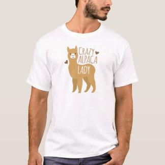 熱狂するなアルパカの女性 Tシャツ
