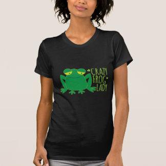 熱狂するなカエルの女性 Tシャツ