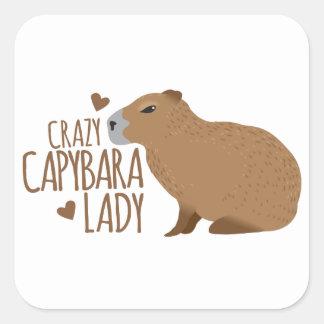 熱狂するなカピバラの女性 スクエアシール