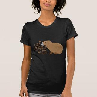 熱狂するなカピバラの女性 Tシャツ