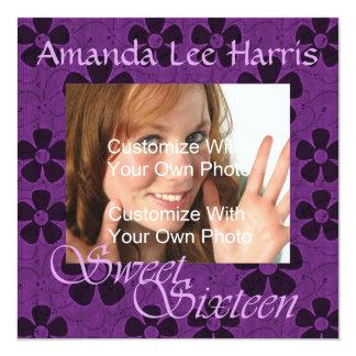 熱狂するなデイジーのSweet sixteenの招待状/紫色 カード