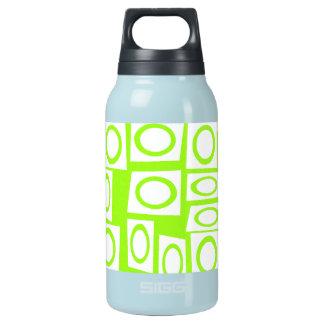 熱狂するなネオンライムグリーンのおもしろいの円の正方形パターン 断熱ウォーターボトル