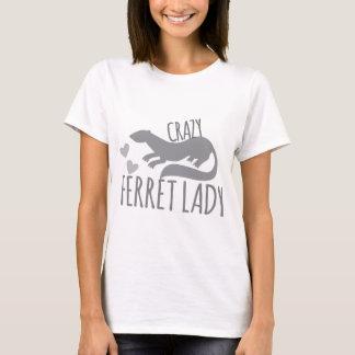 熱狂するなフェレットの女性 Tシャツ