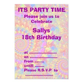 熱狂するなフラクタルのピンクのパーティの招待状 カード