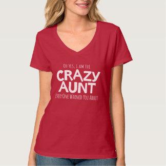 熱狂するな叔母さんの白い印刷のスローガンのTシャツ Tシャツ