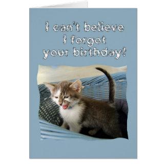 熱狂するな子ネコの遅れて誕生日 カード