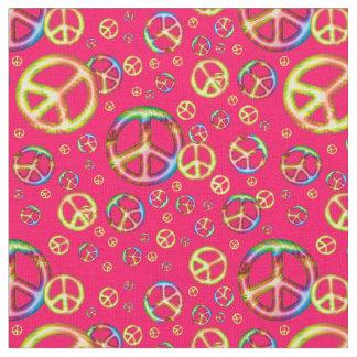 熱狂するな子供の色平和ピンクZazzleの生地 ファブリック