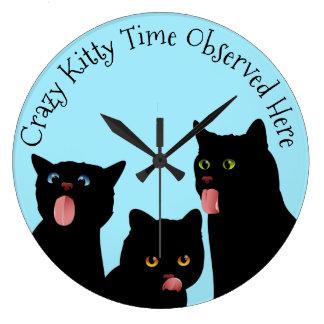 熱狂するな子猫の時間猫の時計 ラージ壁時計