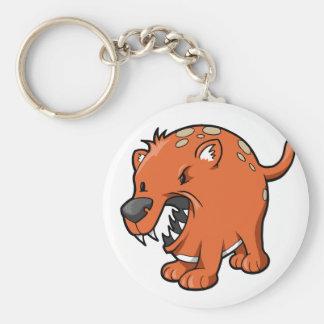 熱狂するな怒っているラット犬ボタン キーホルダー