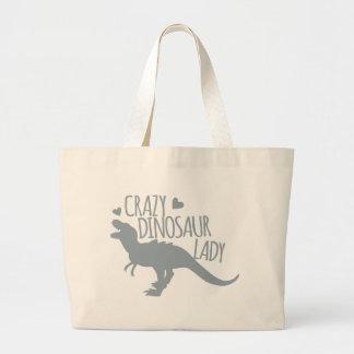 熱狂するな恐竜の女性 ラージトートバッグ