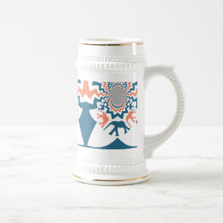熱狂するな歩く象の珊瑚の青いシェブロンパターン ビールジョッキ