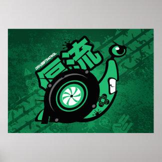 熱狂するな漂流のパトロール-ターボかたつむり(緑) ポスター