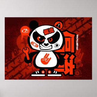 熱狂するな漂流のパトロール-積極的なパンダ(赤い) ポスター