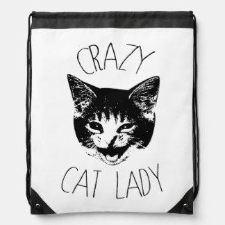 熱狂するな猫の女性のおもしろいな子ネコの顔 ナップサック