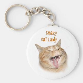 熱狂するな猫の女性 キーホルダー