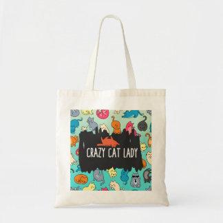 熱狂するな猫の女性Cuteおよびよくはしゃぐな猫パターン トートバッグ