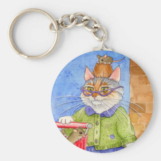 熱狂するな猫の女性keychain キーホルダー
