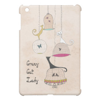 熱狂するなCats n猫の女性鳥かごのipadのケース iPad Miniカバー