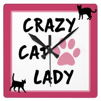 熱狂するなSquare猫の女性柱時計 スクエア壁時計