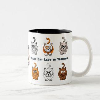 熱狂するなTraining猫の女性コーヒー・マグ ツートーンマグカップ