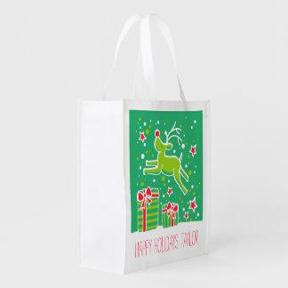 熱血なトナカイの緑の赤くカスタムなバッグ エコバッグ