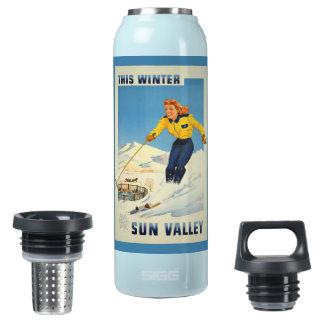 熱Sun Valleyのヴィンテージ旅行名前をカスタムする 断熱ウォーターボトル