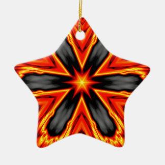 燃えるようで赤くおよび黒い六芒星のデザイン セラミックオーナメント