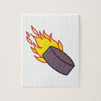 燃えるようなアイスホッケー用パック ジグソーパズル