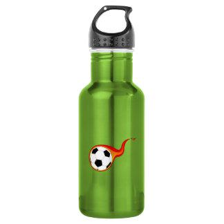 燃えるようなサッカーボール ウォーターボトル