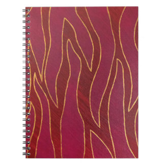 燃えるようなシマウマの抽象芸術の炎のデザインのノート ノートブック