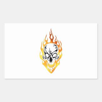 燃えるようなスカルの入れ墨 長方形シール